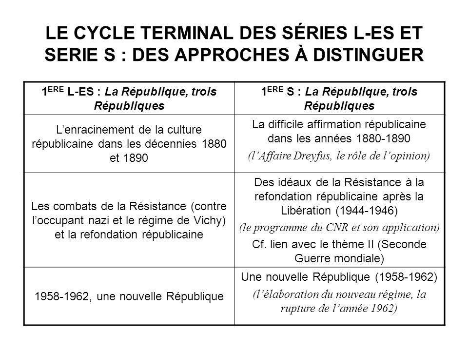 LE CYCLE TERMINAL DES SÉRIES L-ES ET SERIE S : DES APPROCHES À DISTINGUER