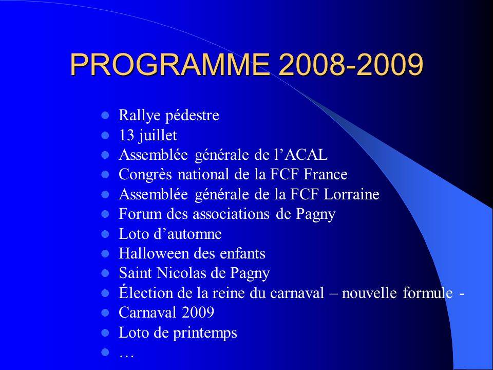 PROGRAMME 2008-2009 Rallye pédestre 13 juillet