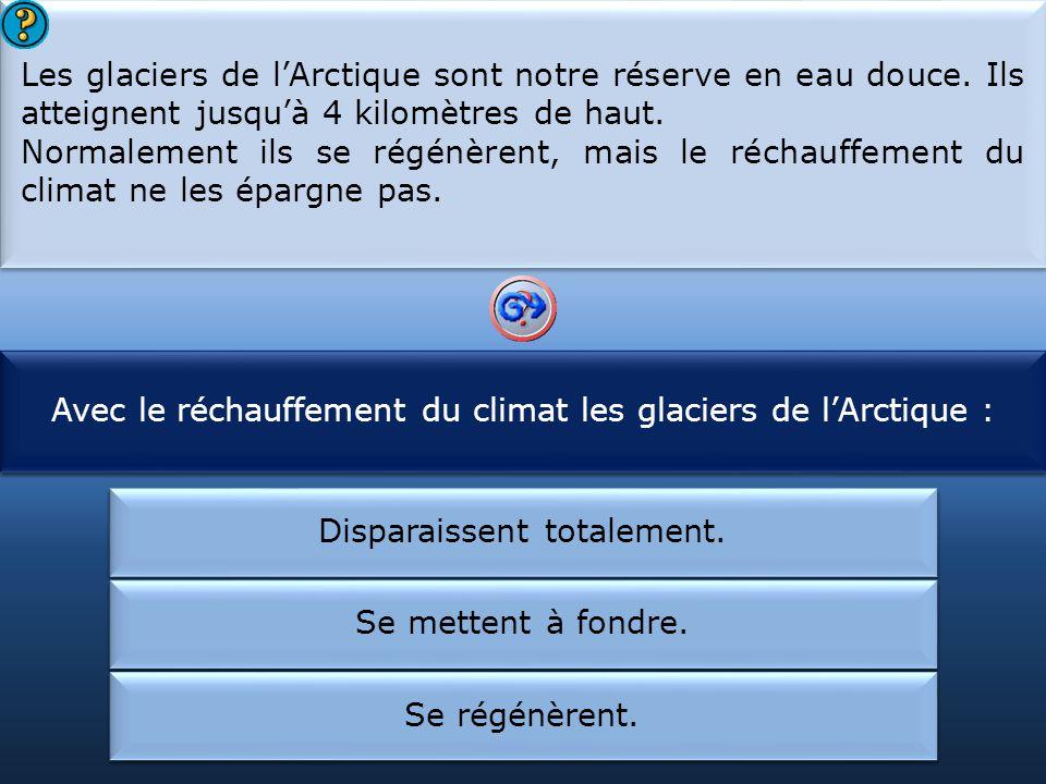 Avec le réchauffement du climat les glaciers de l'Arctique :