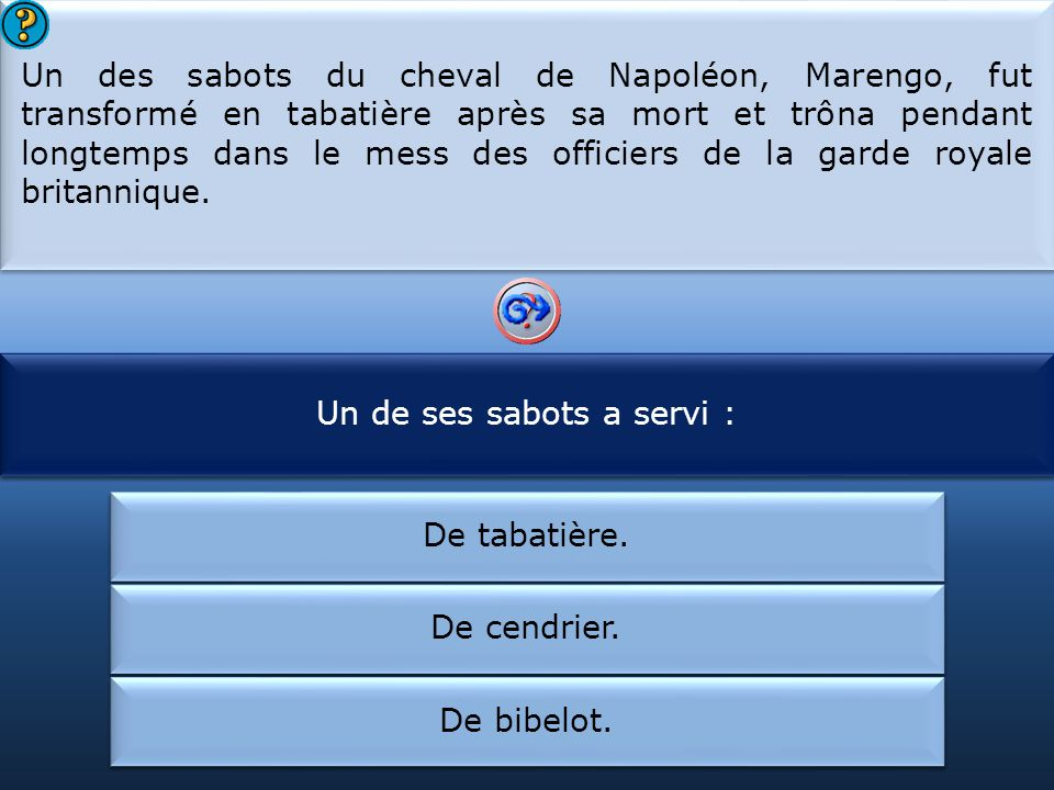 Un de ses sabots a servi : Le cheval de Napoléon s'appelait :