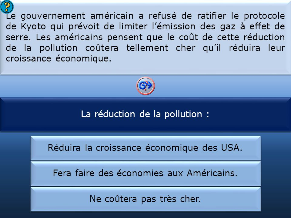 La réduction de la pollution : Le gouvernement américain :