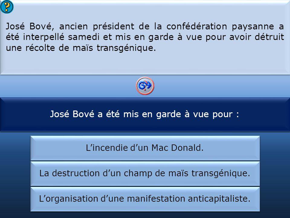 José Bové a été mis en garde à vue pour :