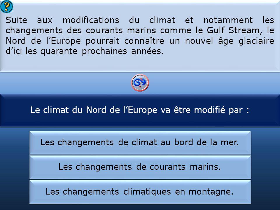 Le climat du Nord de l'Europe va être modifié par :