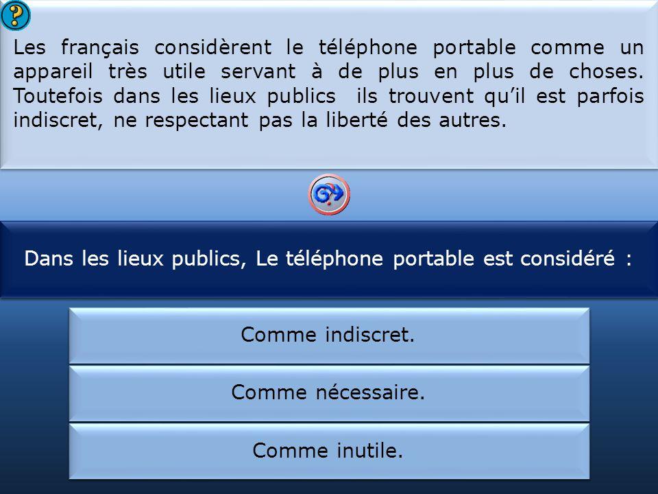 Dans les lieux publics, Le téléphone portable est considéré :