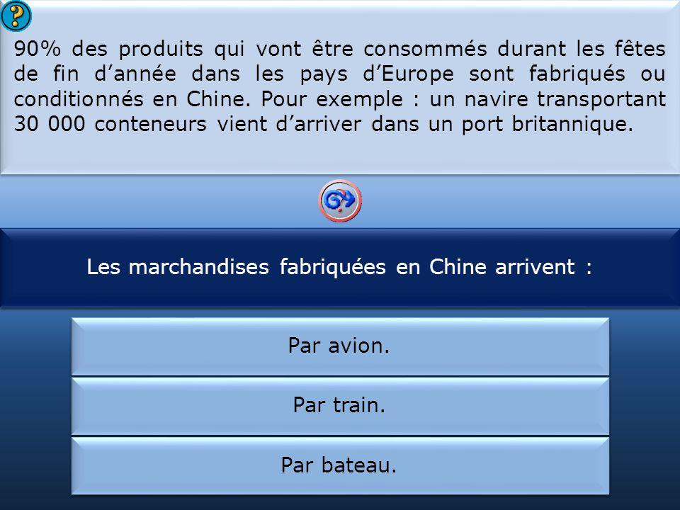 Les marchandises fabriquées en Chine arrivent : La Chine est :