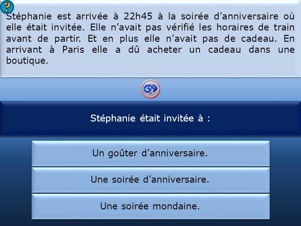 Stéphanie était invitée à : Stéphanie est arrivée en retard :