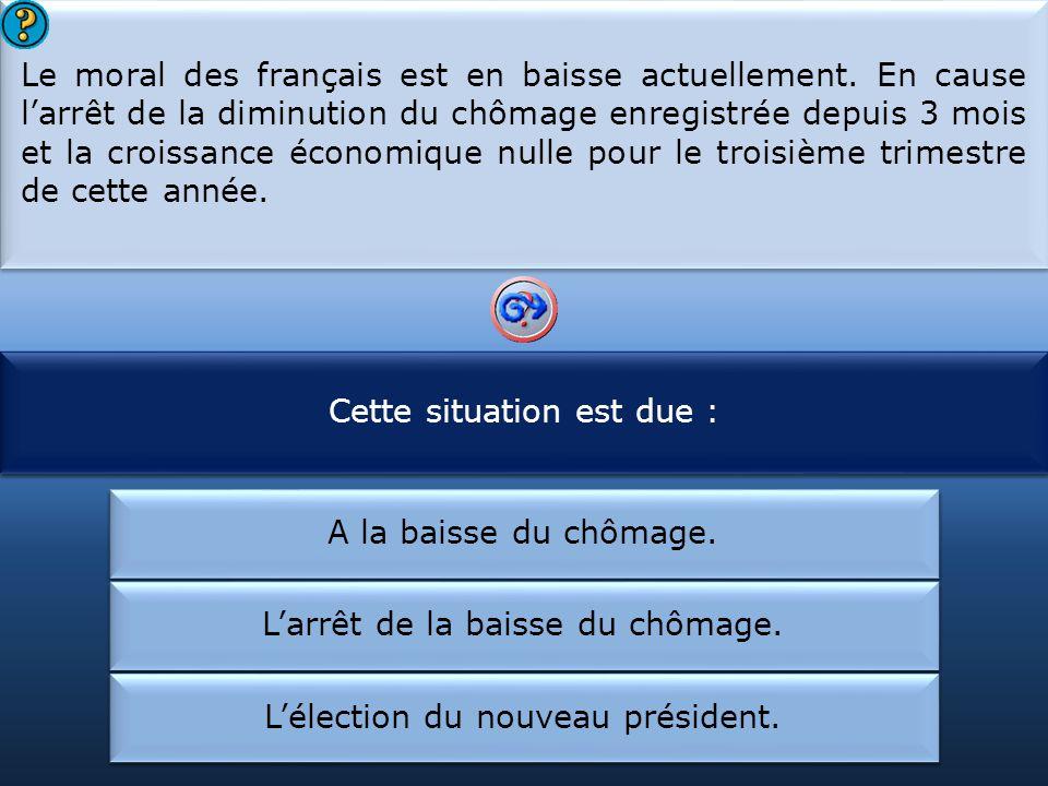 Cette situation est due : Le moral des français :