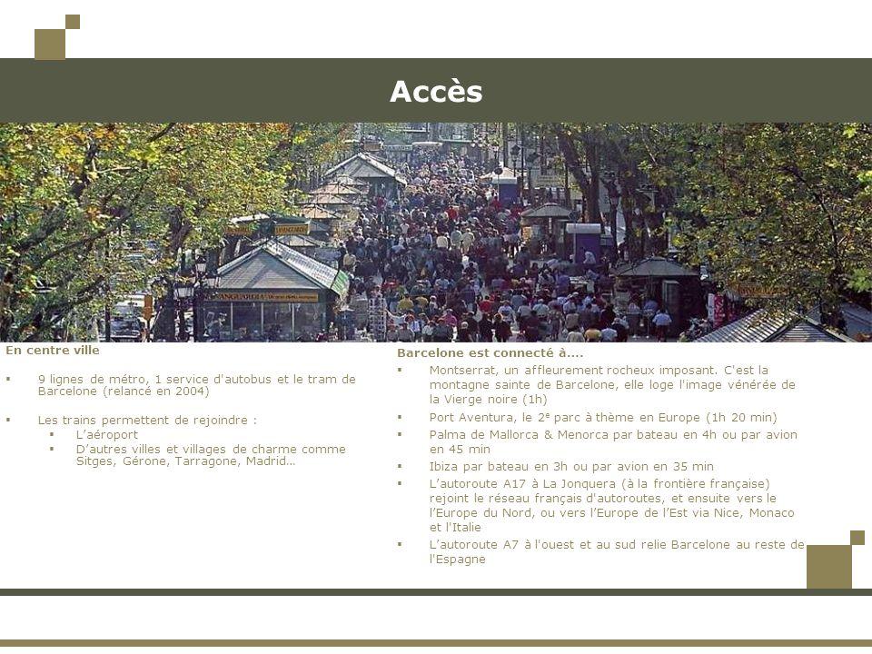 Accès En centre ville. 9 lignes de métro, 1 service d autobus et le tram de Barcelone (relancé en 2004)