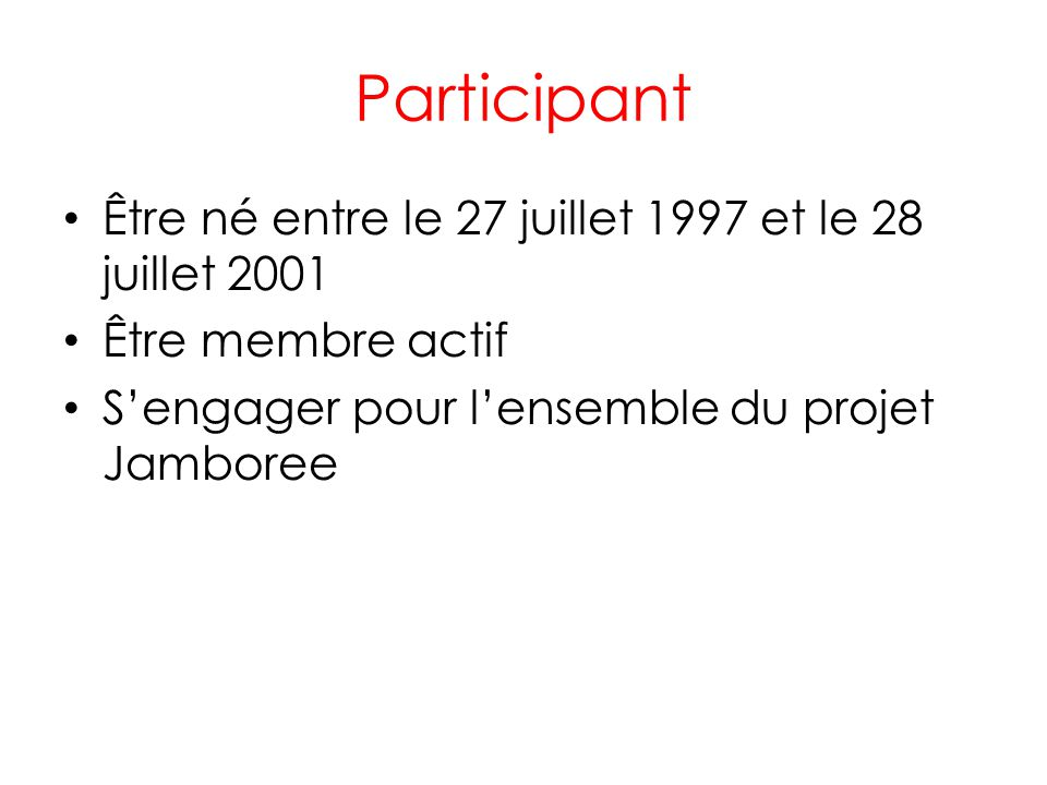 Participant Être né entre le 27 juillet 1997 et le 28 juillet 2001