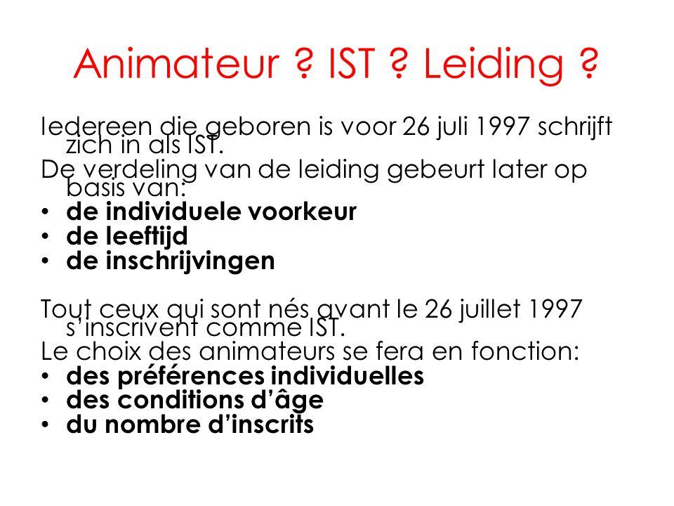 Animateur IST Leiding Iedereen die geboren is voor 26 juli 1997 schrijft zich in als IST.