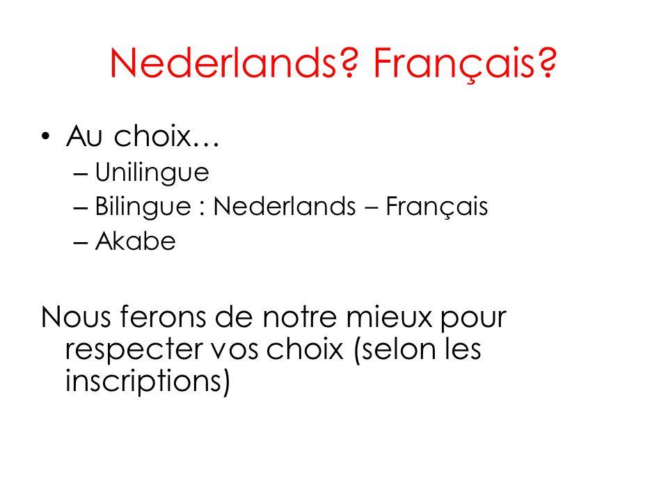 Nederlands Français Au choix…