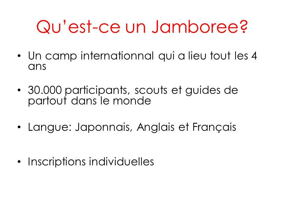 Qu'est-ce un Jamboree Un camp internationnal qui a lieu tout les 4 ans. 30.000 participants, scouts et guides de partout dans le monde.