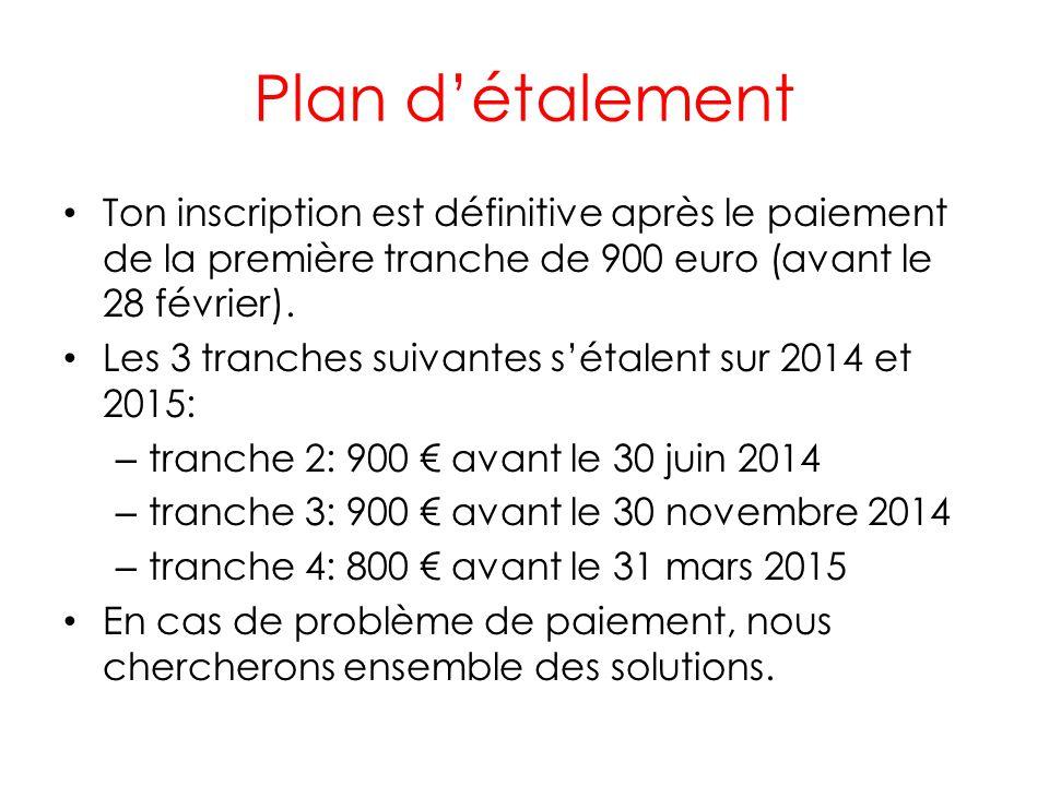 Plan d'étalement Ton inscription est définitive après le paiement de la première tranche de 900 euro (avant le 28 février).