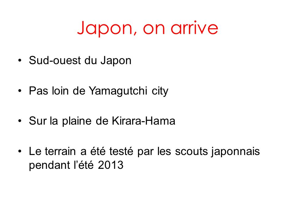 Japon, on arrive Sud-ouest du Japon Pas loin de Yamagutchi city