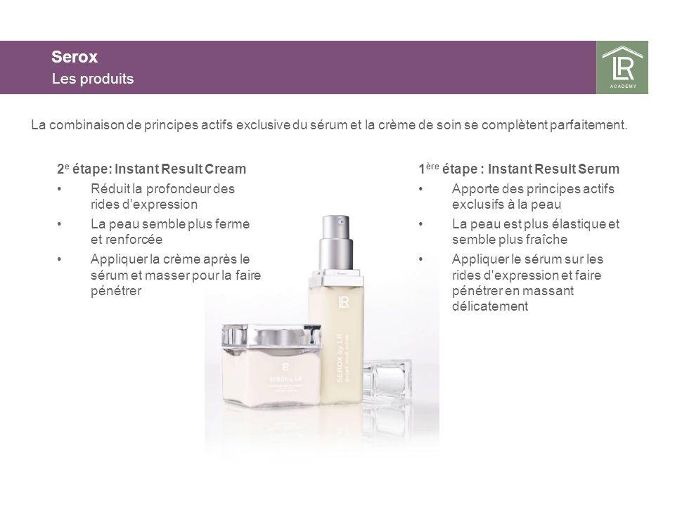 25.03.2017 Serox. Les produits. La combinaison de principes actifs exclusive du sérum et la crème de soin se complètent parfaitement.