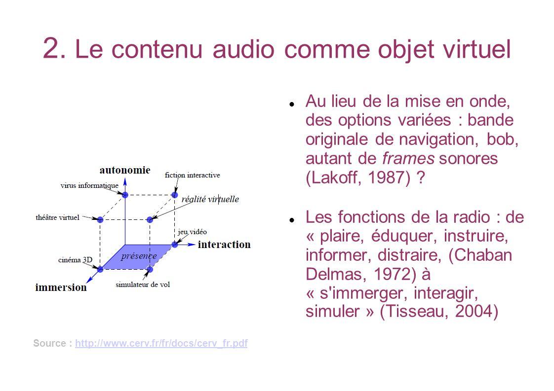 2. Le contenu audio comme objet virtuel