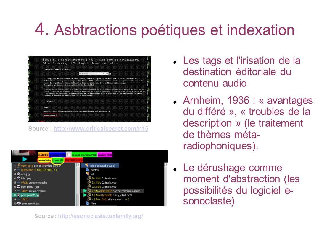 4. Asbtractions poétiques et indexation