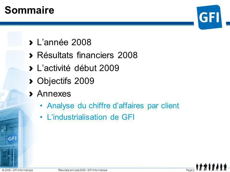 Sommaire L'année 2008 Résultats financiers 2008 L'activité début 2009