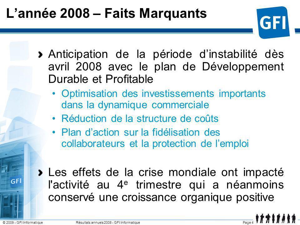 L'année 2008 – Faits Marquants