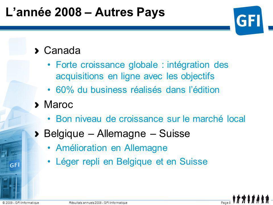 L'année 2008 – Autres Pays Canada Maroc Belgique – Allemagne – Suisse
