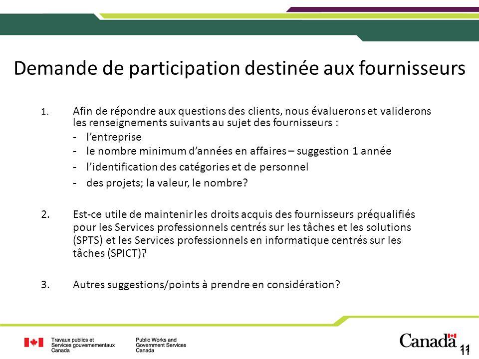 Demande de participation destinée aux fournisseurs