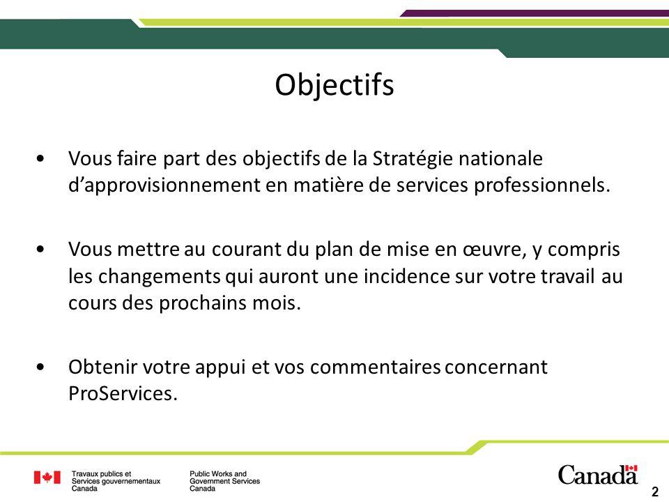 Objectifs Vous faire part des objectifs de la Stratégie nationale d'approvisionnement en matière de services professionnels.