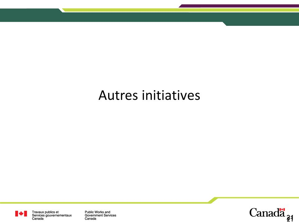 Autres initiatives 21