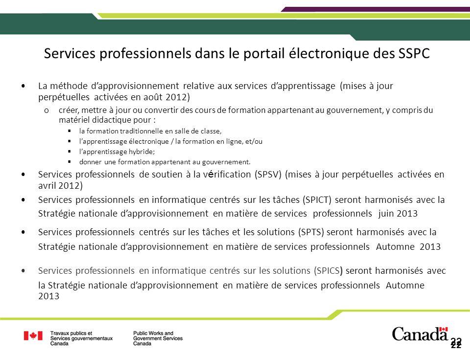 Services professionnels dans le portail électronique des SSPC