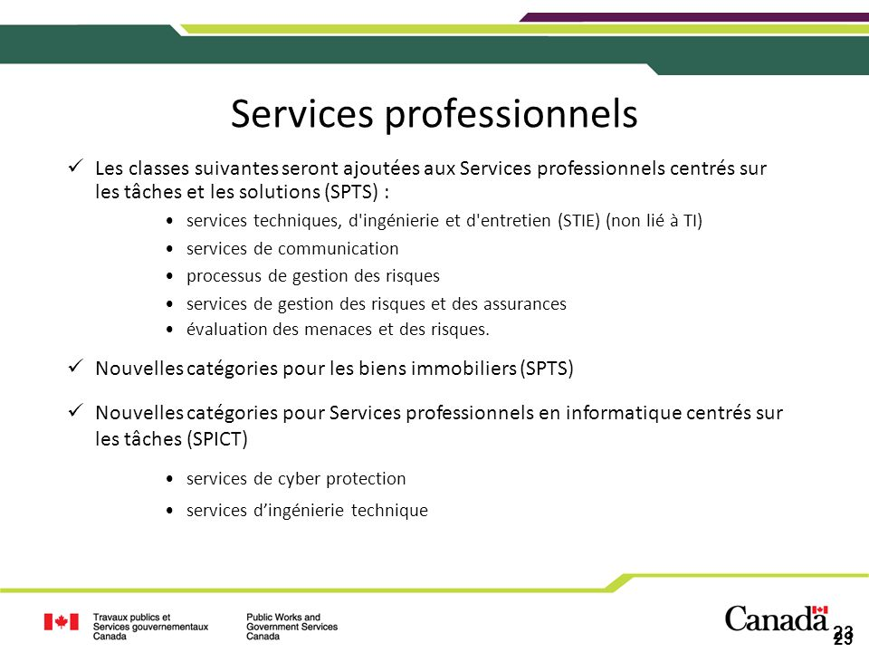 Services professionnels