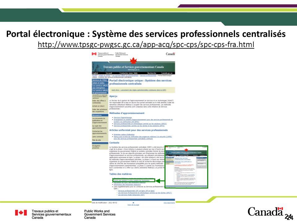 Portal électronique : Système des services professionnels centralisés