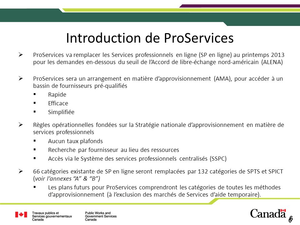 Introduction de ProServices