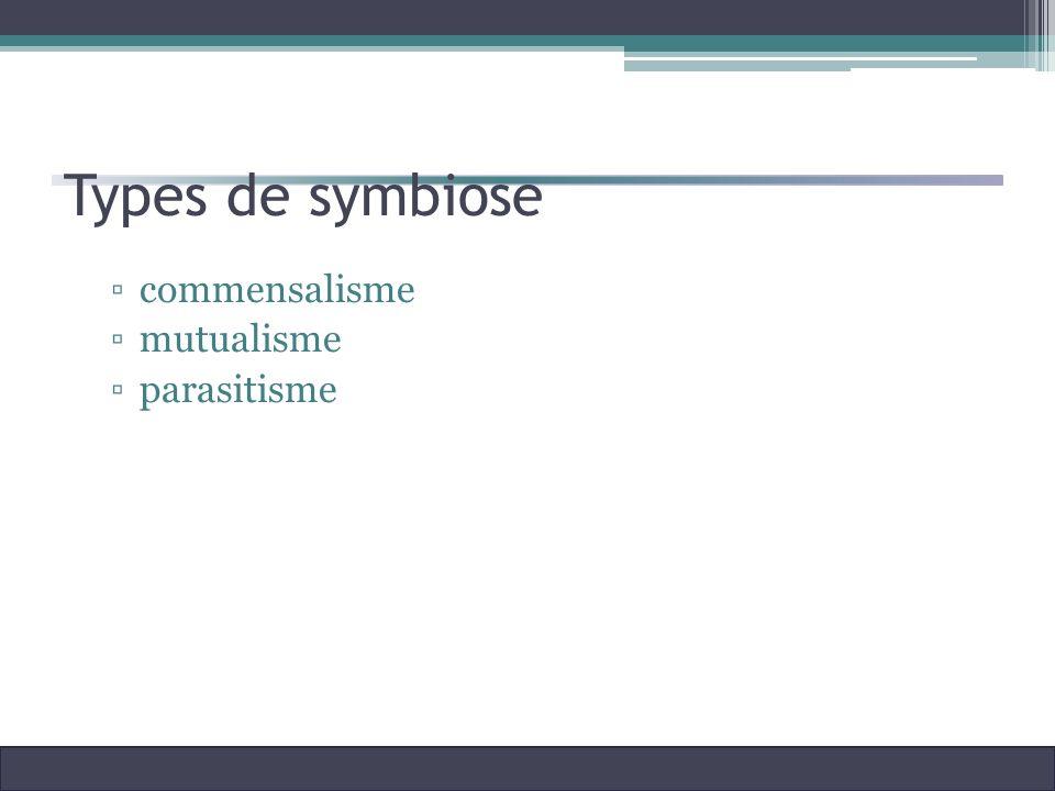 Types de symbiose commensalisme mutualisme parasitisme