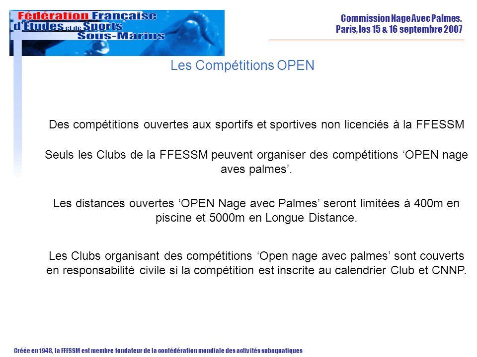 Les Compétitions OPEN Des compétitions ouvertes aux sportifs et sportives non licenciés à la FFESSM.