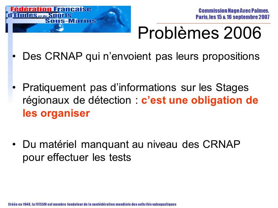Problèmes 2006 Des CRNAP qui n'envoient pas leurs propositions
