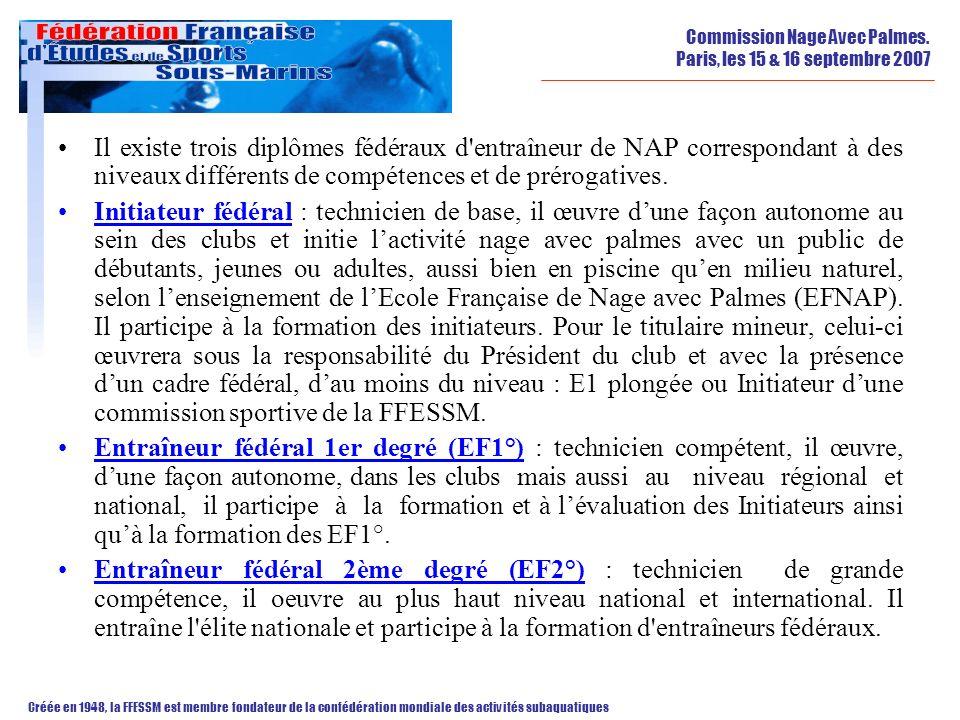 Il existe trois diplômes fédéraux d entraîneur de NAP correspondant à des niveaux différents de compétences et de prérogatives.