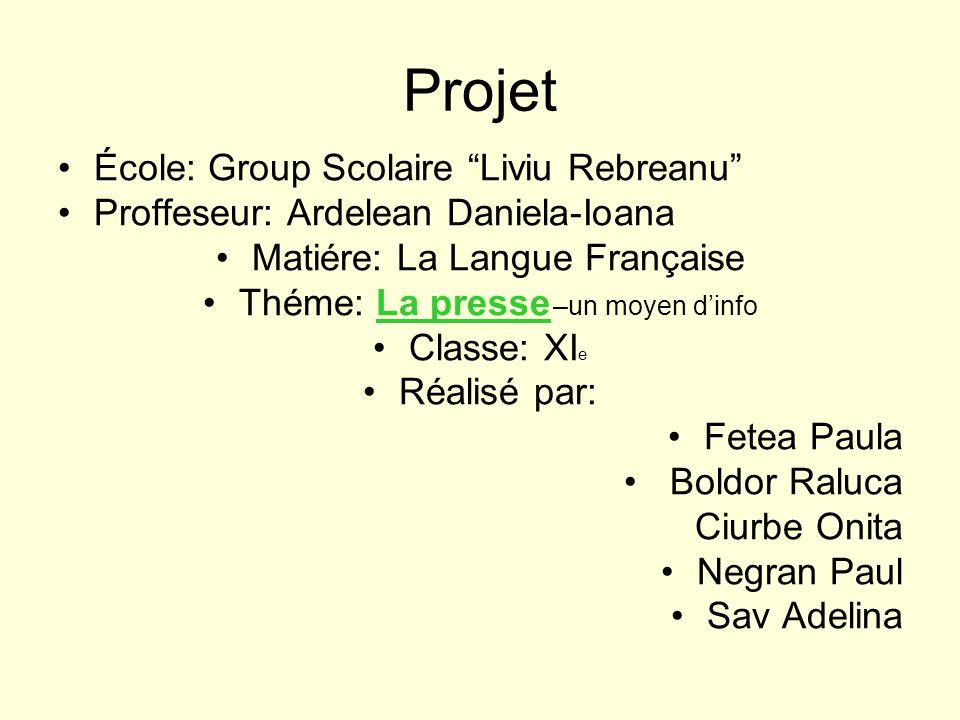 Projet École: Group Scolaire Liviu Rebreanu