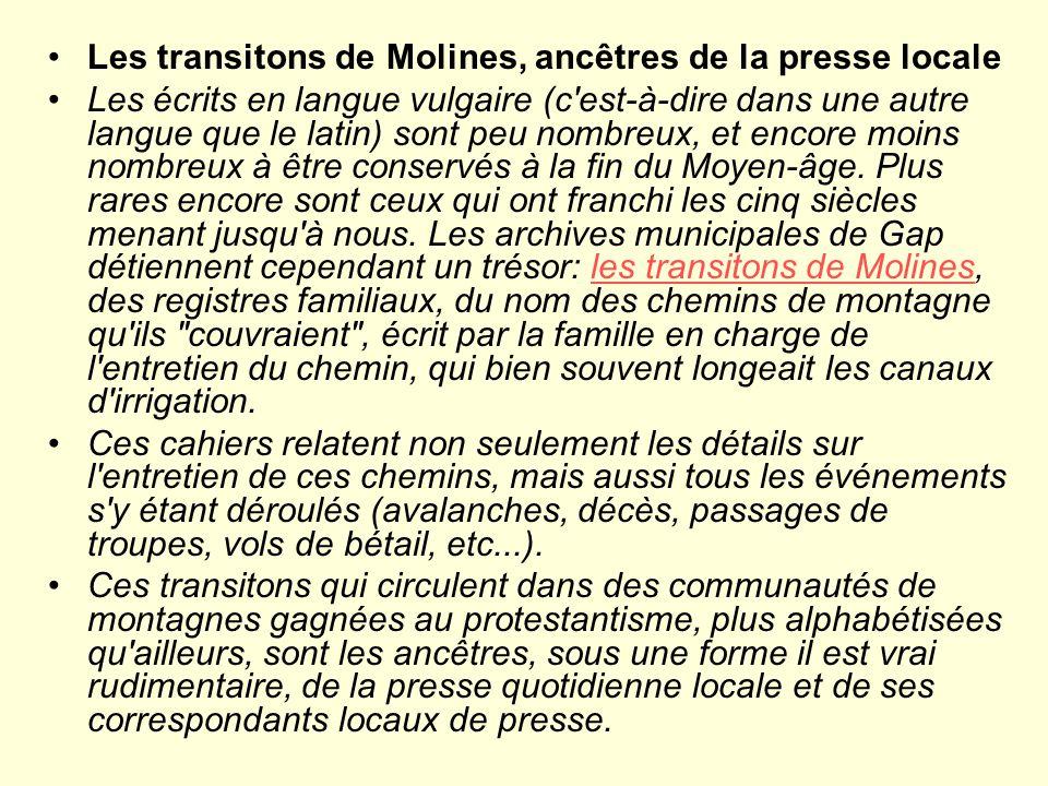 Les transitons de Molines, ancêtres de la presse locale