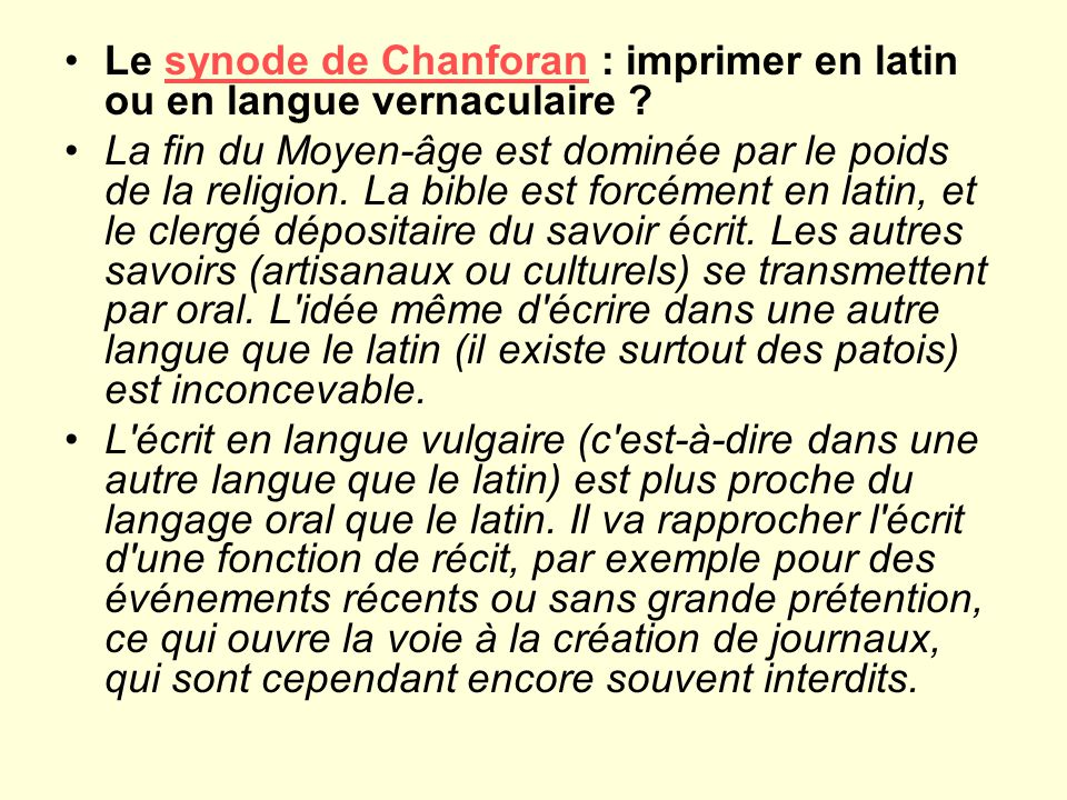 Le synode de Chanforan : imprimer en latin ou en langue vernaculaire