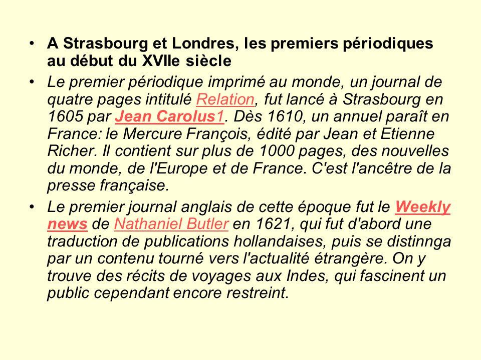 A Strasbourg et Londres, les premiers périodiques au début du XVIIe siècle
