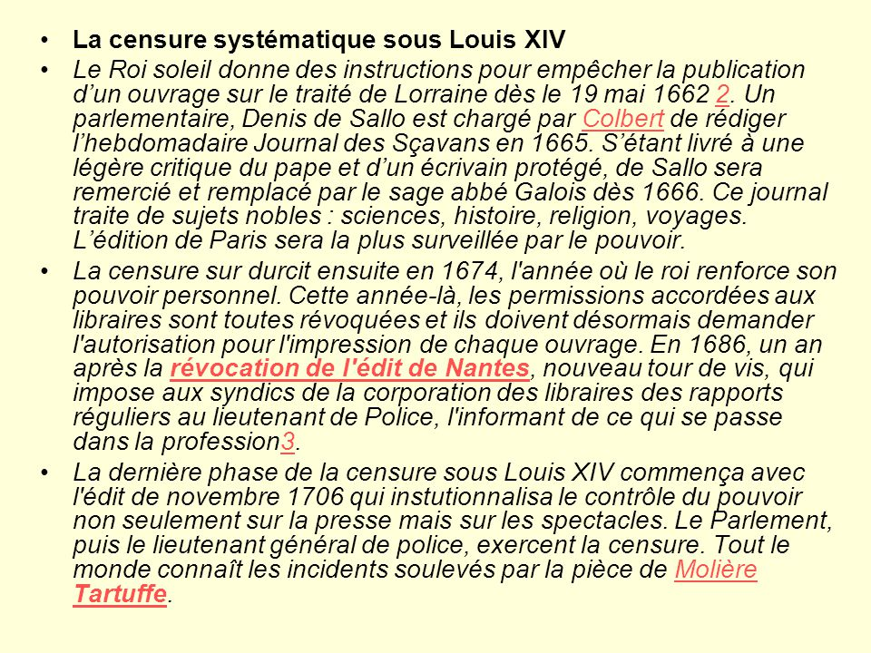 La censure systématique sous Louis XIV
