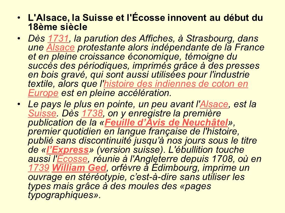 L Alsace, la Suisse et l Écosse innovent au début du 18ème siècle