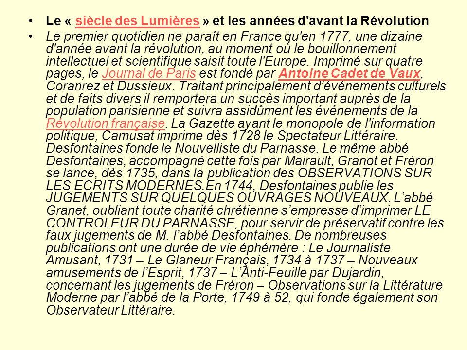 Le « siècle des Lumières » et les années d avant la Révolution