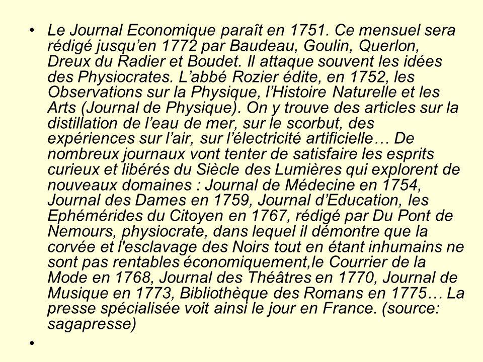 Le Journal Economique paraît en 1751