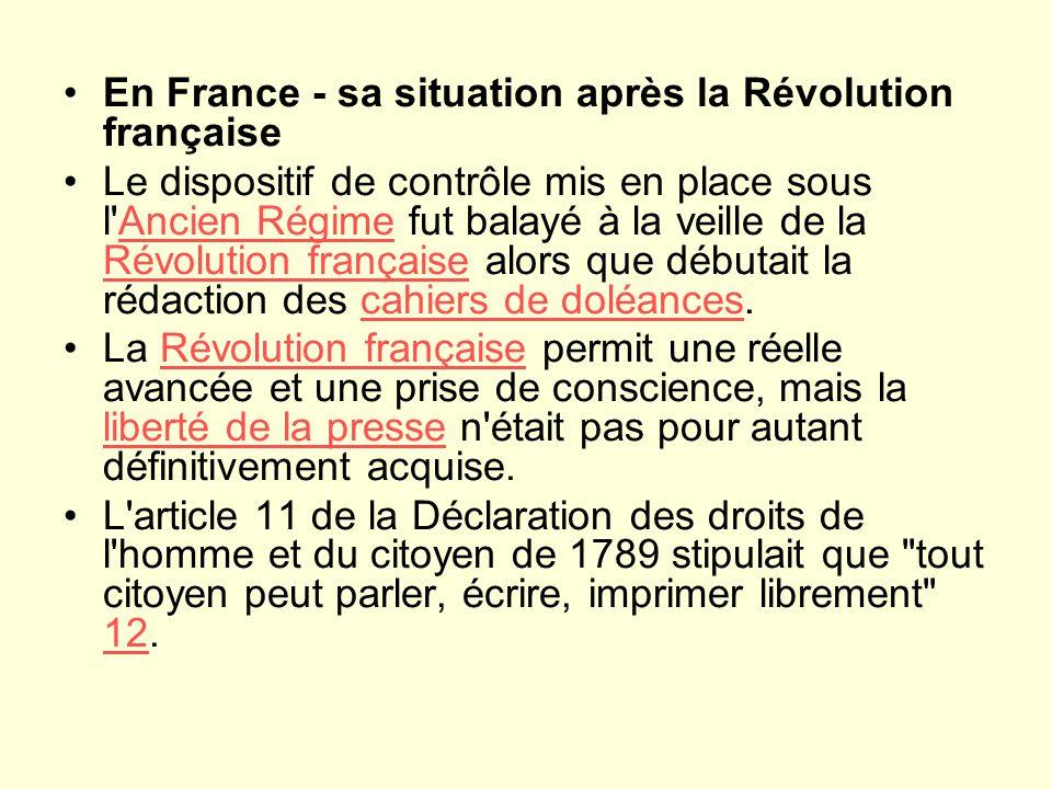 En France - sa situation après la Révolution française