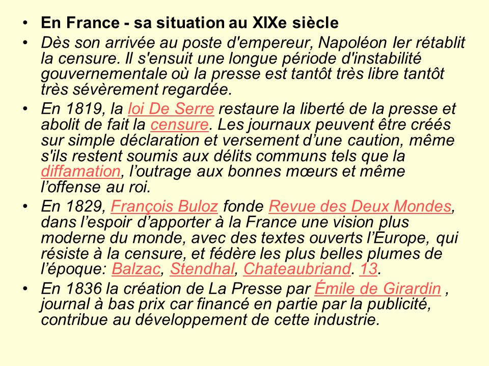 En France - sa situation au XIXe siècle