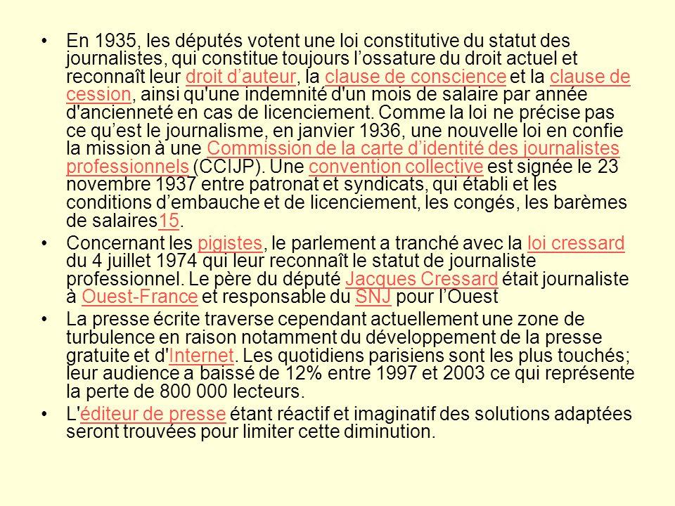 En 1935, les députés votent une loi constitutive du statut des journalistes, qui constitue toujours l'ossature du droit actuel et reconnaît leur droit d'auteur, la clause de conscience et la clause de cession, ainsi qu une indemnité d un mois de salaire par année d ancienneté en cas de licenciement. Comme la loi ne précise pas ce qu'est le journalisme, en janvier 1936, une nouvelle loi en confie la mission à une Commission de la carte d'identité des journalistes professionnels (CCIJP). Une convention collective est signée le 23 novembre 1937 entre patronat et syndicats, qui établi et les conditions d'embauche et de licenciement, les congés, les barèmes de salaires15.