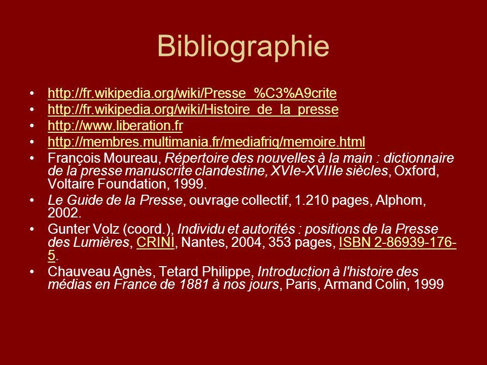 Bibliographie http://fr.wikipedia.org/wiki/Presse_%C3%A9crite