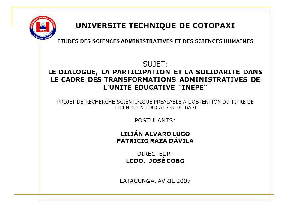 UNIVERSITE TECHNIQUE DE COTOPAXI