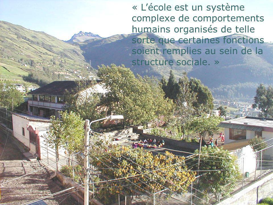 « L'école est un système complexe de comportements humains organisés de telle sorte que certaines fonctions soient remplies au sein de la structure sociale. »