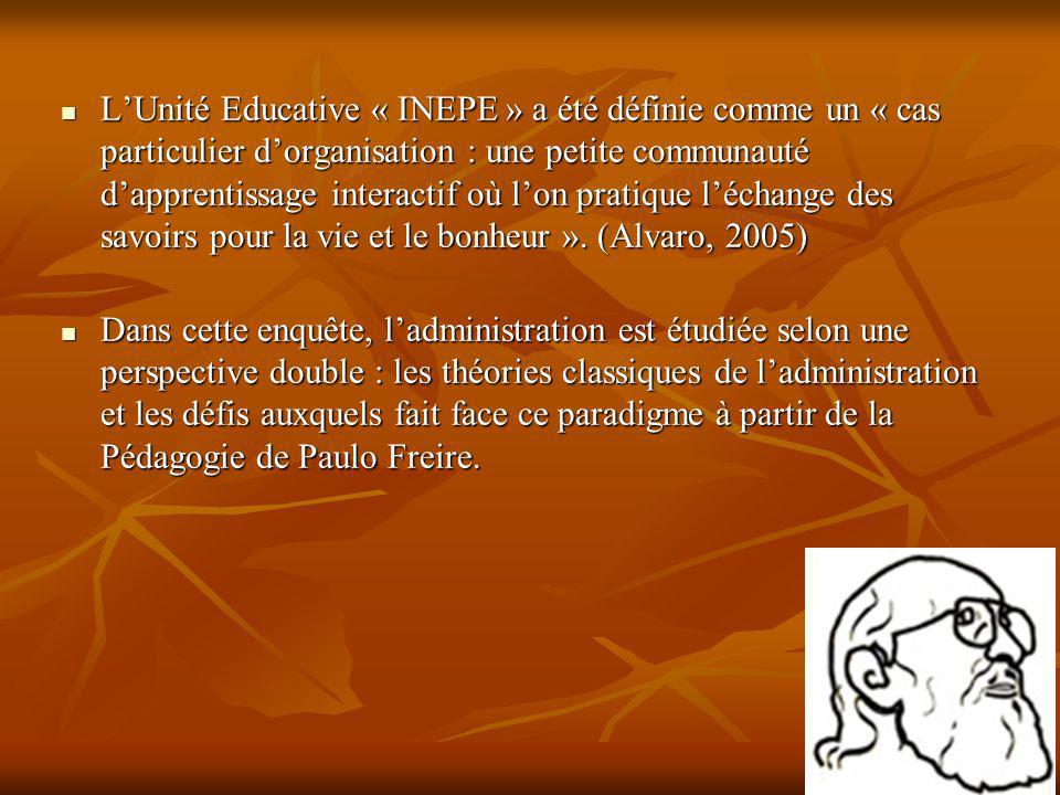 L'Unité Educative « INEPE » a été définie comme un « cas particulier d'organisation : une petite communauté d'apprentissage interactif où l'on pratique l'échange des savoirs pour la vie et le bonheur ». (Alvaro, 2005)